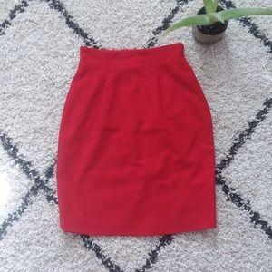 Red Pencil wool Skirt